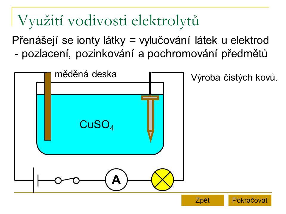 Využití vodivosti elektrolytů PokračovatZpět A CuSO 4 měděná deska Přenášejí se ionty látky = vylučování látek u elektrod - pozlacení, pozinkování a pochromování předmětů Výroba čistých kovů.
