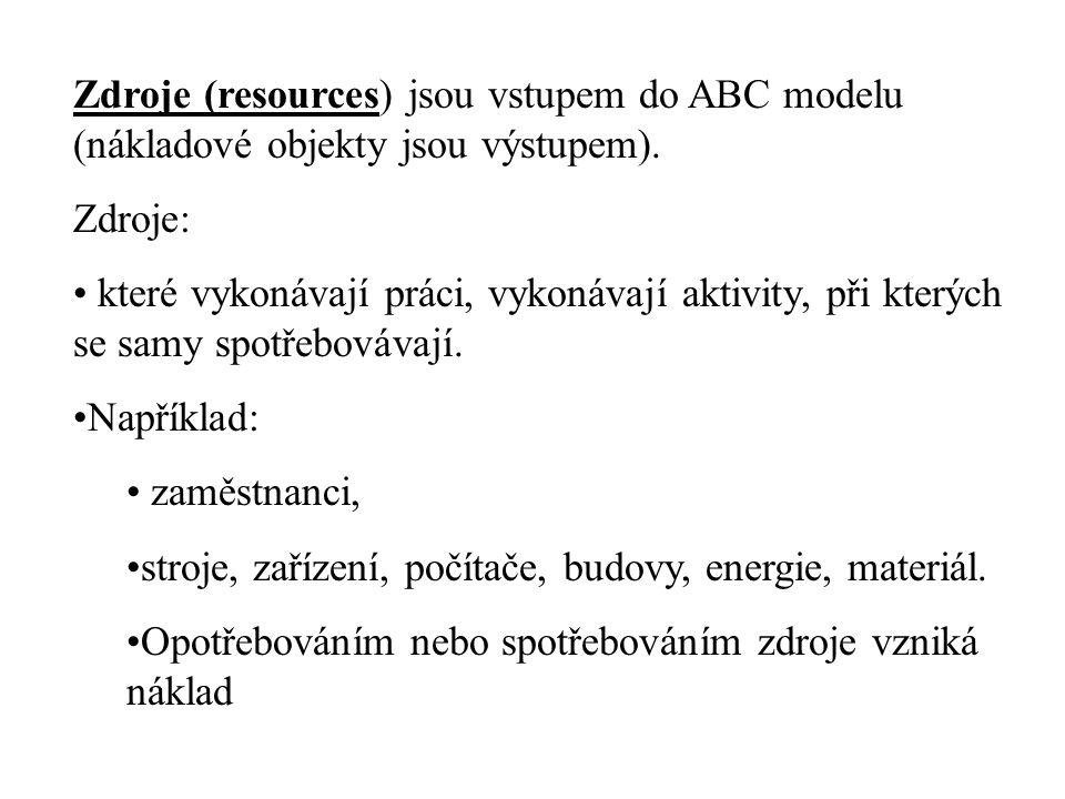 Zdroje (resources) jsou vstupem do ABC modelu (nákladové objekty jsou výstupem). Zdroje: • které vykonávají práci, vykonávají aktivity, při kterých se