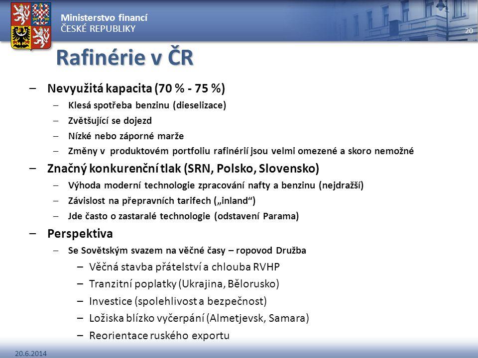 Ministerstvo financí ČESKÉ REPUBLIKY 20.6.2014 20 Rafinérie v ČR –Nevyužitá kapacita (70 % - 75 %) –Klesá spotřeba benzinu (dieselizace) –Zvětšující s