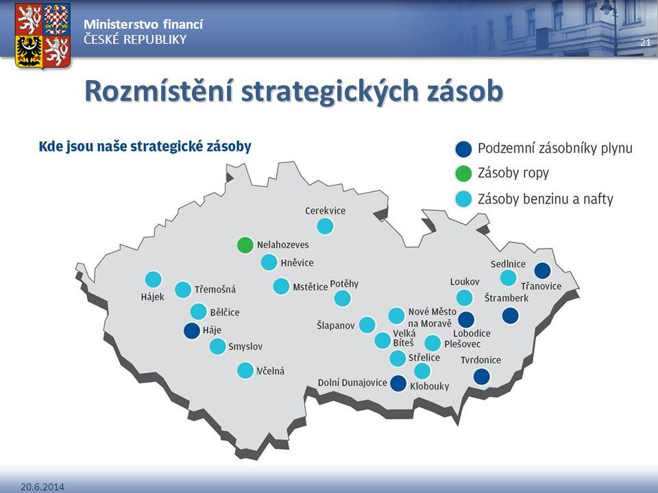Ministerstvo financí ČESKÉ REPUBLIKY 20.6.2014 21 Rozmístění strategických zásob