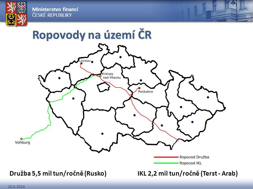 Ministerstvo financí ČESKÉ REPUBLIKY 20.6.2014 22 Ropovody na území ČR Družba 5,5 mil tun/ročně (Rusko) IKL 2,2 mil tun/ročně (Terst - Arab)