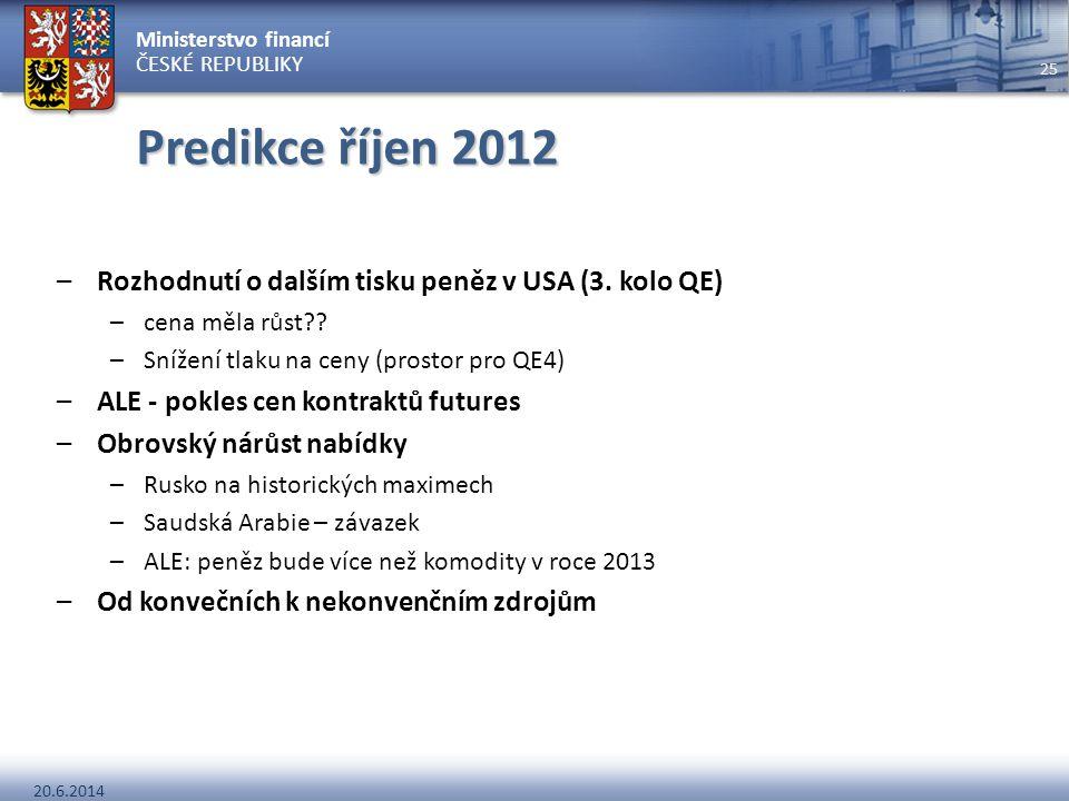 Ministerstvo financí ČESKÉ REPUBLIKY 20.6.2014 25 Predikce říjen 2012 –Rozhodnutí o dalším tisku peněz v USA (3. kolo QE) –cena měla růst?? –Snížení t