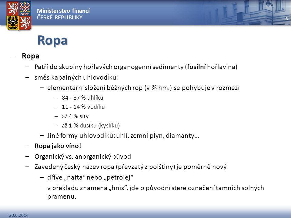 Ministerstvo financí ČESKÉ REPUBLIKY 20.6.2014 3 Ropa –Ropa –Patří do skupiny hořlavých organogenní sedimenty (fosilní hořlavina) –směs kapalných uhlo