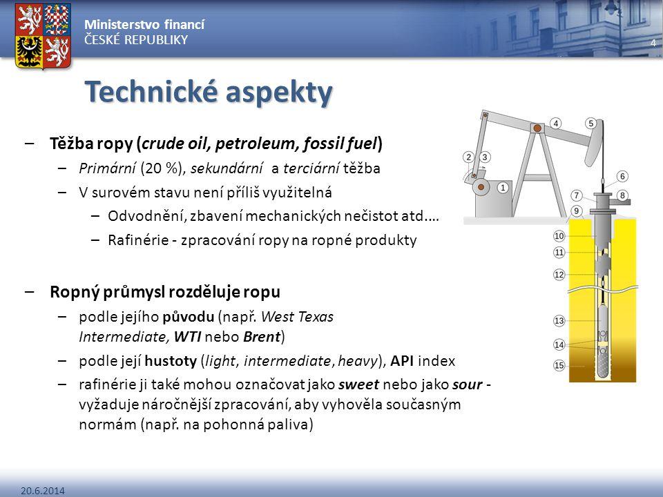 Ministerstvo financí ČESKÉ REPUBLIKY 20.6.2014 4 Technické aspekty –Těžba ropy (crude oil, petroleum, fossil fuel) –Primární (20 %), sekundární a terc