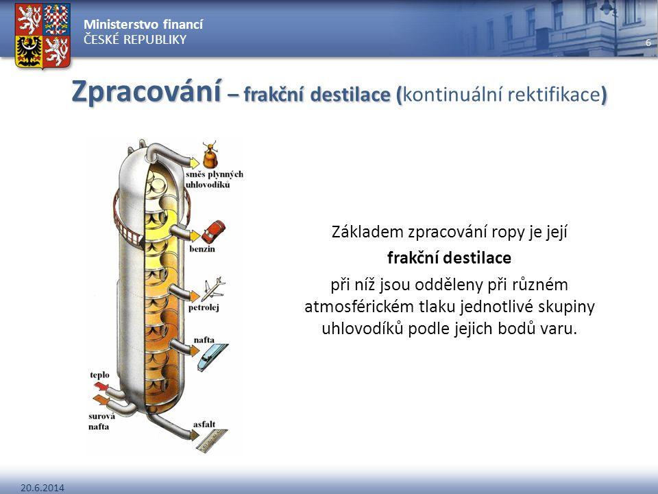 Ministerstvo financí ČESKÉ REPUBLIKY 20.6.2014 6 Zpracování – frakční destilace () Zpracování – frakční destilace (kontinuální rektifikace) Základem z