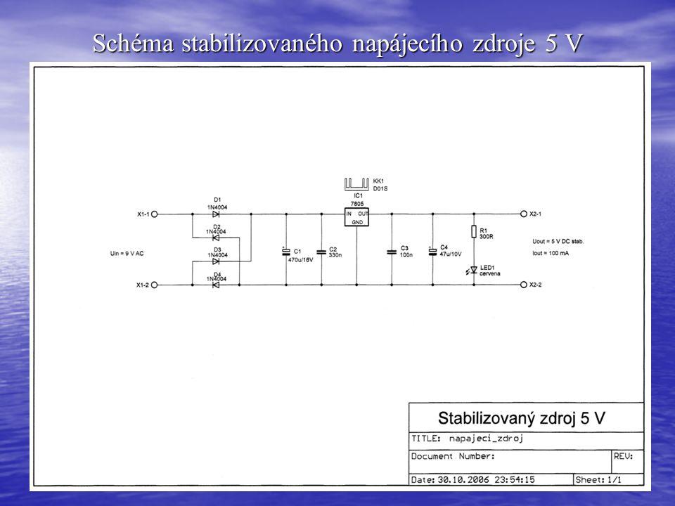 Schéma stabilizovaného napájecího zdroje 5 V
