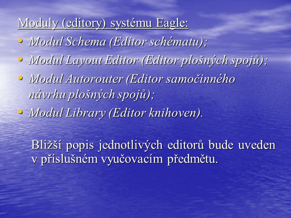 Moduly (editory) systému Eagle: • Modul Schema (Editor schématu); • Modul Layout Editor (Editor plošných spojů); • Modul Autorouter (Editor samočinnéh