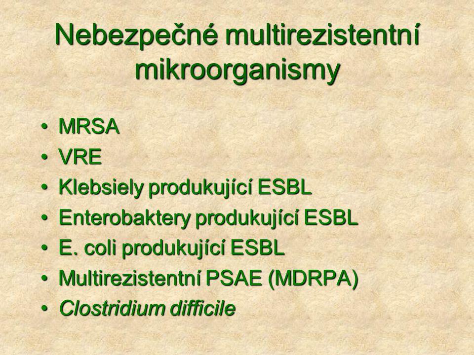 Nebezpečné multirezistentní mikroorganismy •MRSA •VRE •Klebsiely produkující ESBL •Enterobaktery produkující ESBL •E. coli produkující ESBL •Multirezi