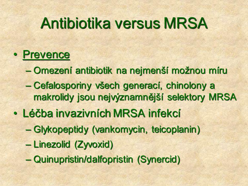Antibiotika versus MRSA •Prevence –Omezení antibiotik na nejmenší možnou míru –Cefalosporiny všech generací, chinolony a makrolidy jsou nejvýznamnější