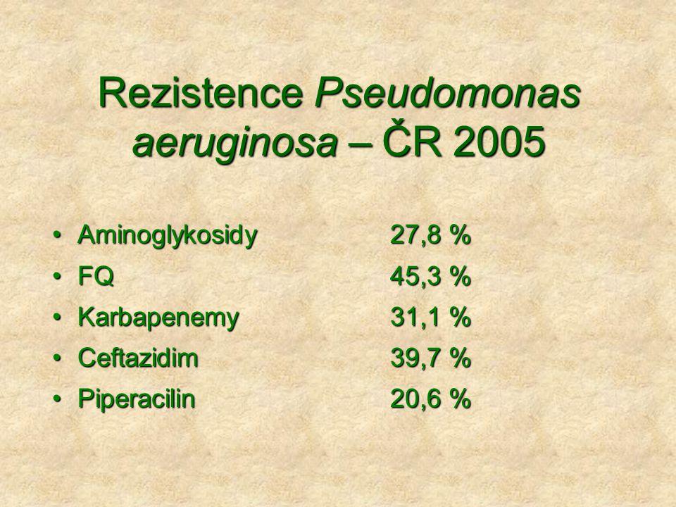 Rezistence Pseudomonas aeruginosa – ČR 2005 •Aminoglykosidy27,8 % •FQ45,3 % •Karbapenemy31,1 % •Ceftazidim39,7 % •Piperacilin 20,6 %