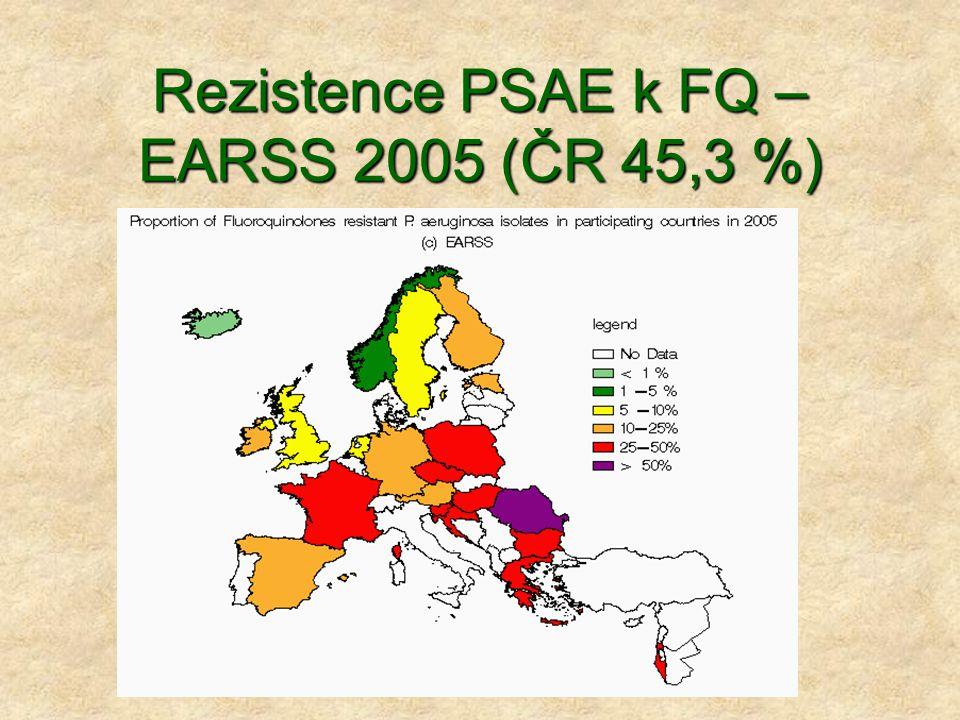 Rezistence PSAE k FQ – EARSS 2005 (ČR 45,3 %)