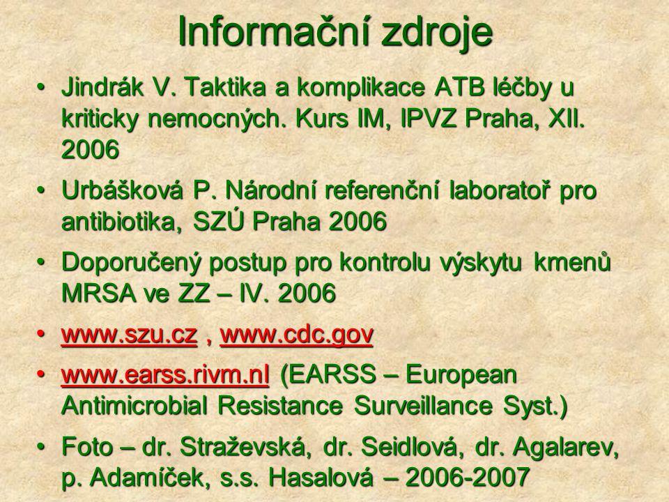 Informační zdroje •Jindrák V. Taktika a komplikace ATB léčby u kriticky nemocných. Kurs IM, IPVZ Praha, XII. 2006 •Urbášková P. Národní referenční lab