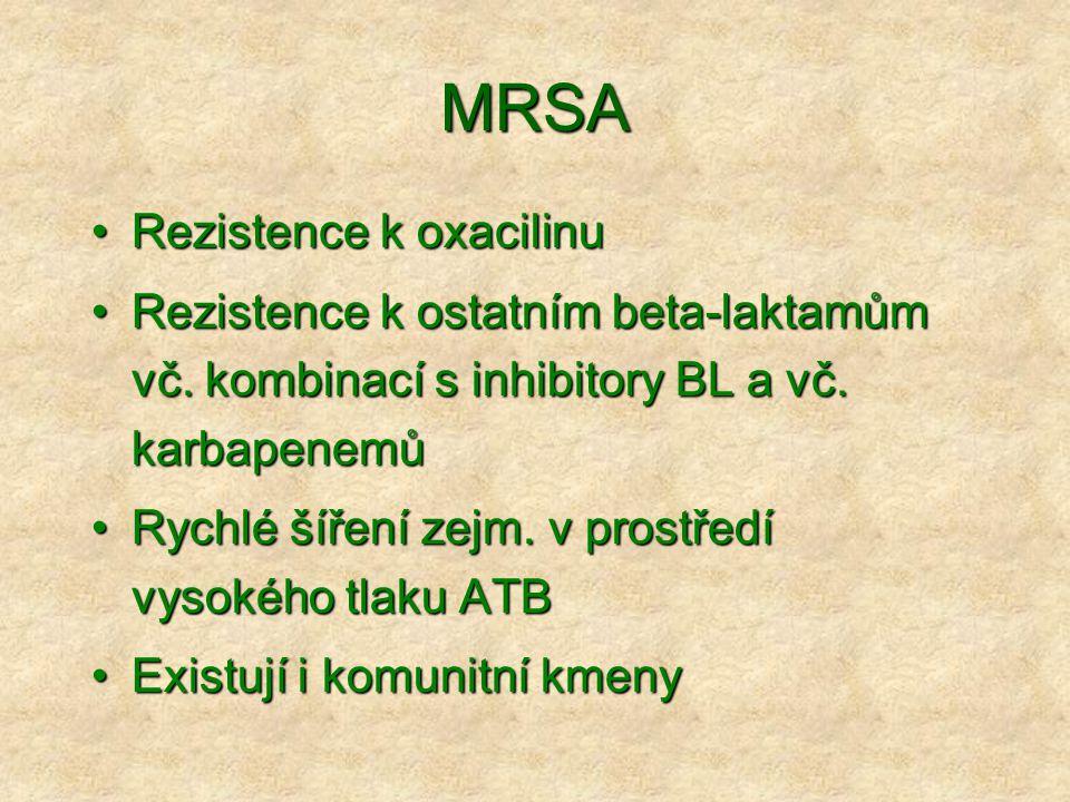 MRSA •Rezistence k oxacilinu •Rezistence k ostatním beta-laktamům vč. kombinací s inhibitory BL a vč. karbapenemů •Rychlé šíření zejm. v prostředí vys