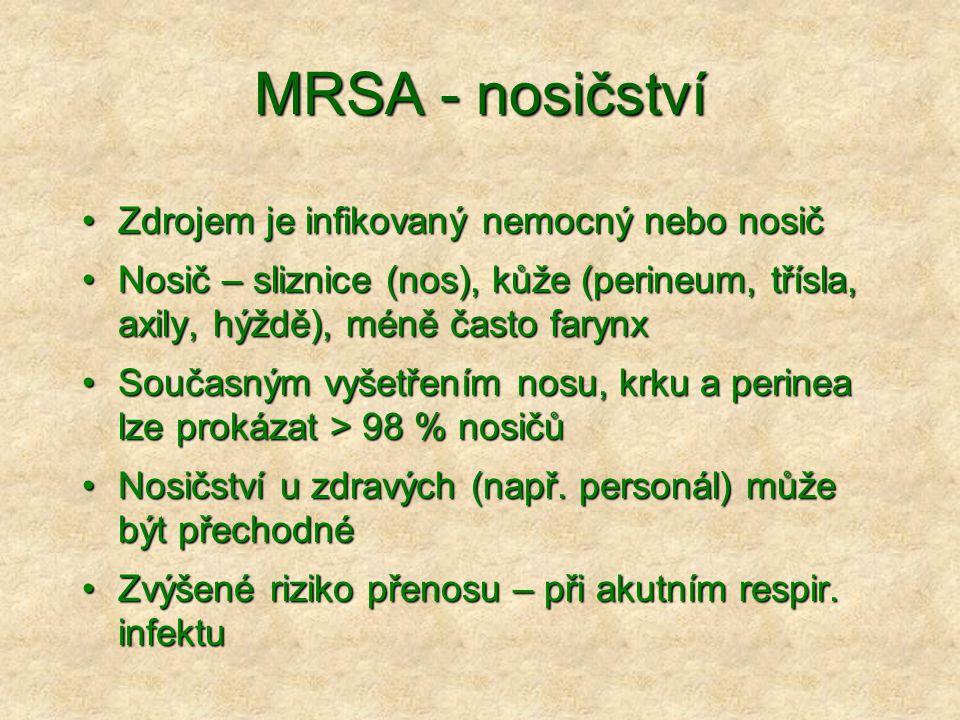 MRSA - nosičství •Zdrojem je infikovaný nemocný nebo nosič •Nosič – sliznice (nos), kůže (perineum, třísla, axily, hýždě), méně často farynx •Současný