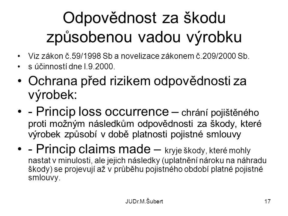 JUDr.M.Šubert17 Odpovědnost za škodu způsobenou vadou výrobku •Viz zákon č.59/1998 Sb a novelizace zákonem č.209/2000 Sb. •s účinností dne l.9.2000. •