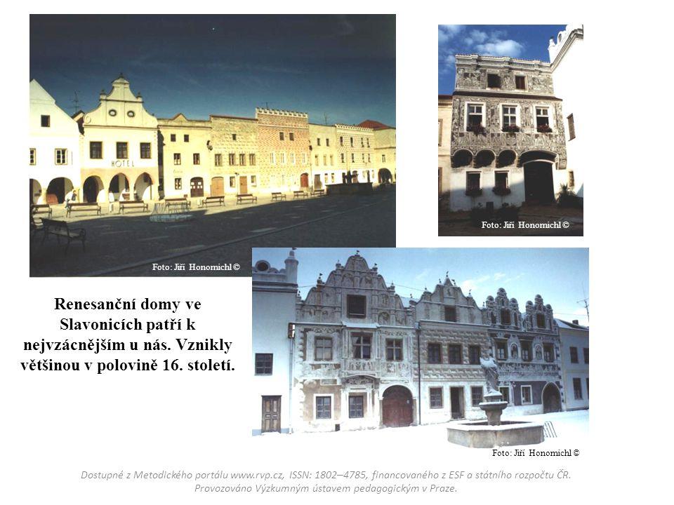 Renesanční domy ve Slavonicích patří k nejvzácnějším u nás. Vznikly většinou v polovině 16. století. Dostupné z Metodického portálu www.rvp.cz, ISSN: