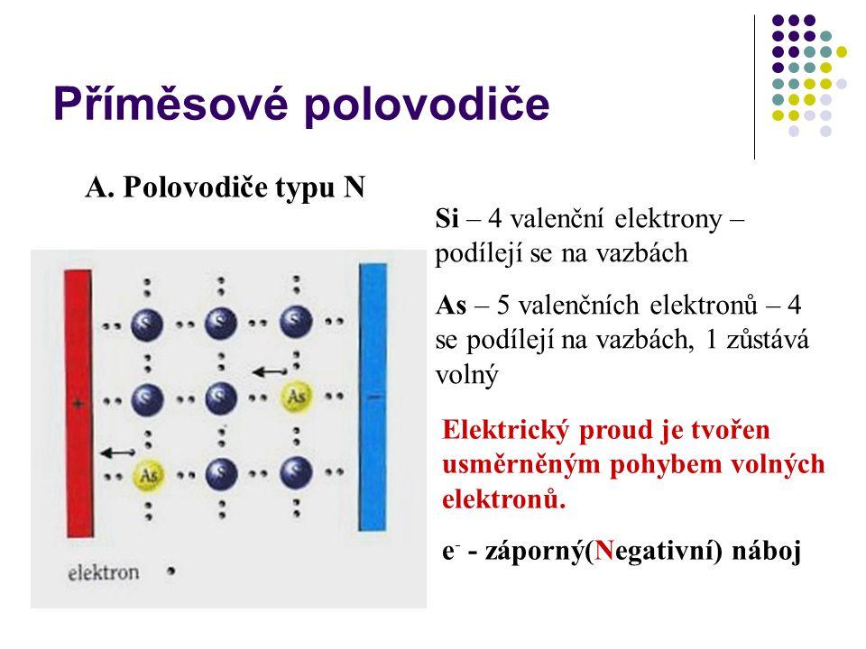 Příměsové polovodiče A. Polovodiče typu N Si – 4 valenční elektrony – podílejí se na vazbách As – 5 valenčních elektronů – 4 se podílejí na vazbách, 1