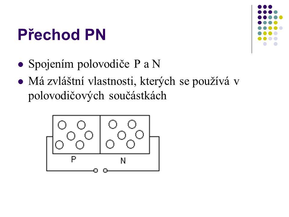 Přechod PN  Spojením polovodiče P a N  Má zvláštní vlastnosti, kterých se používá v polovodičových součástkách
