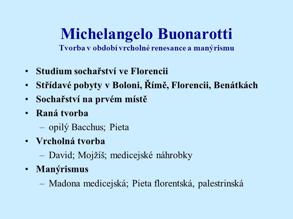 Michelangelo Buonarotti Tvorba v období vrcholné renesance a manýrismu •Studium sochařství ve Florencii •Střídavé pobyty v Boloni, Římě, Florencii, Be