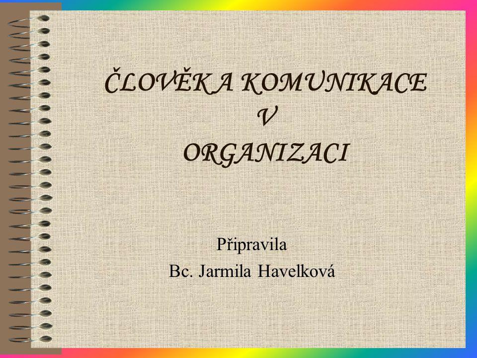 ČLOVĚK A KOMUNIKACE V ORGANIZACI Připravila Bc. Jarmila Havelková