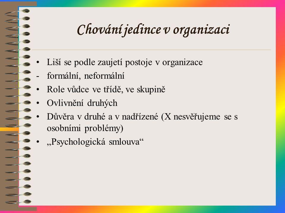 Chování jedince v organizaci •Liší se podle zaujetí postoje v organizace -formální, neformální •Role vůdce ve třídě, ve skupině •Ovlivnění druhých •Dů