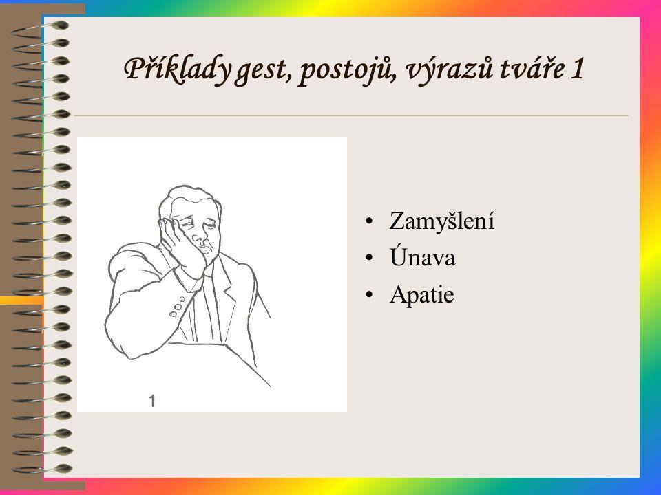 Příklady gest, postojů, výrazů tváře 1 •Zamyšlení •Únava •Apatie