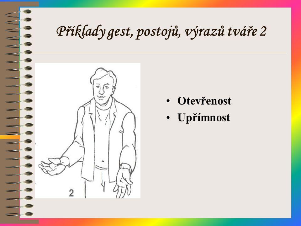 Příklady gest, postojů, výrazů tváře 2 •Otevřenost •Upřímnost