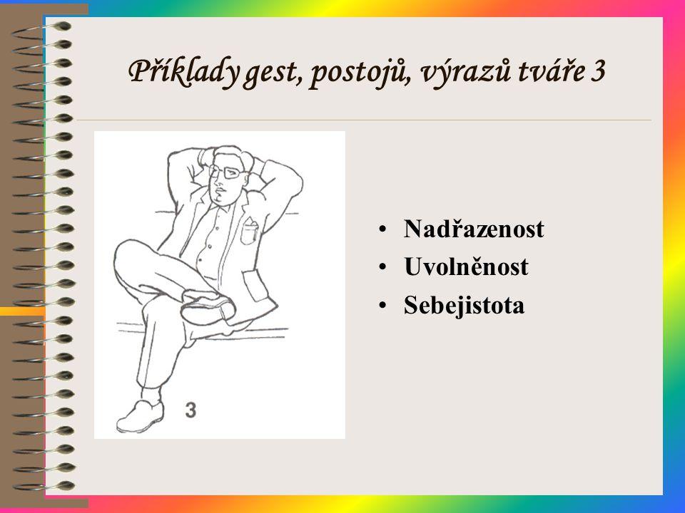 Příklady gest, postojů, výrazů tváře 3 •Nadřazenost •Uvolněnost •Sebejistota