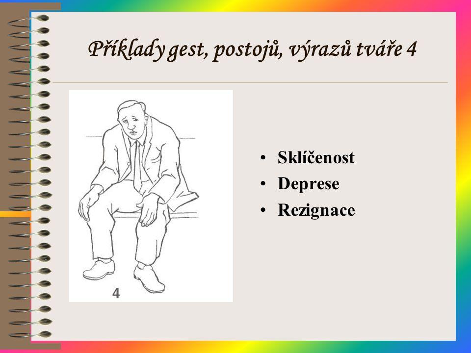 Příklady gest, postojů, výrazů tváře 4 •Sklíčenost •Deprese •Rezignace
