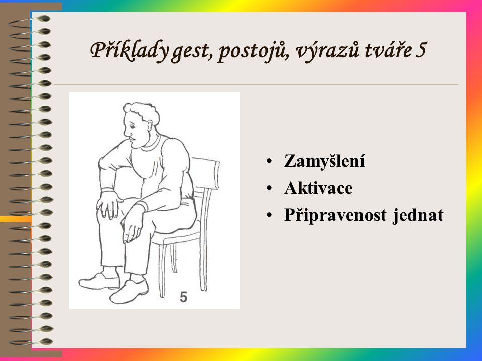 Příklady gest, postojů, výrazů tváře 5 •Zamyšlení •Aktivace •Připravenost jednat