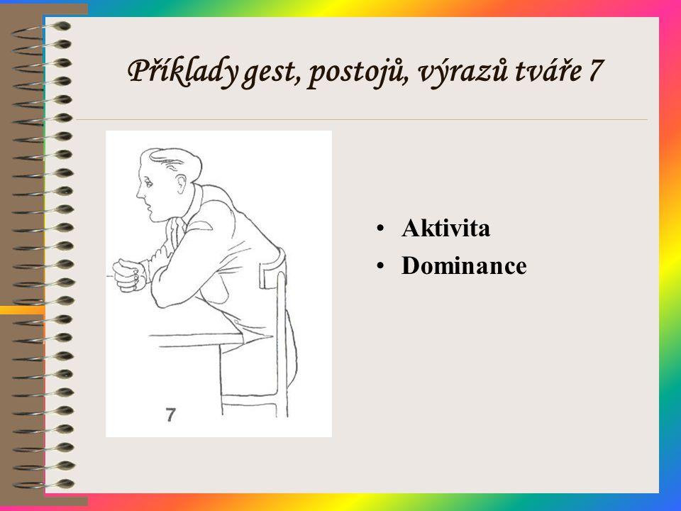 Příklady gest, postojů, výrazů tváře 7 •Aktivita •Dominance