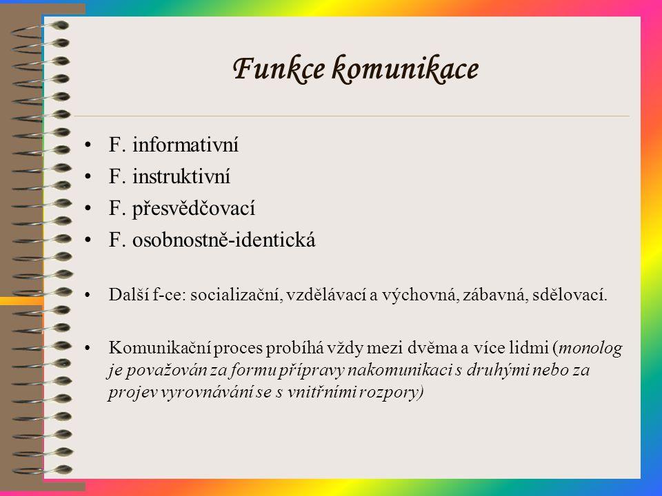 Funkce komunikace •F. informativní •F. instruktivní •F. přesvědčovací •F. osobnostně-identická •Další f-ce: socializační, vzdělávací a výchovná, zábav