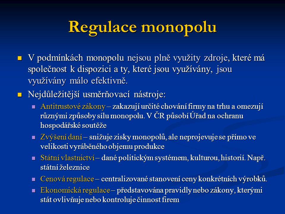 Regulace monopolu  V podmínkách monopolu nejsou plně využity zdroje, které má společnost k dispozici a ty, které jsou využívány, jsou využívány málo