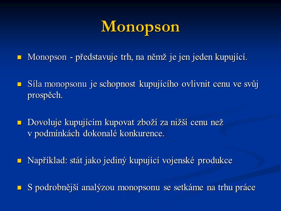 Monopson  Monopson - představuje trh, na němž je jen jeden kupující.  Síla monopsonu je schopnost kupujícího ovlivnit cenu ve svůj prospěch.  Dovol