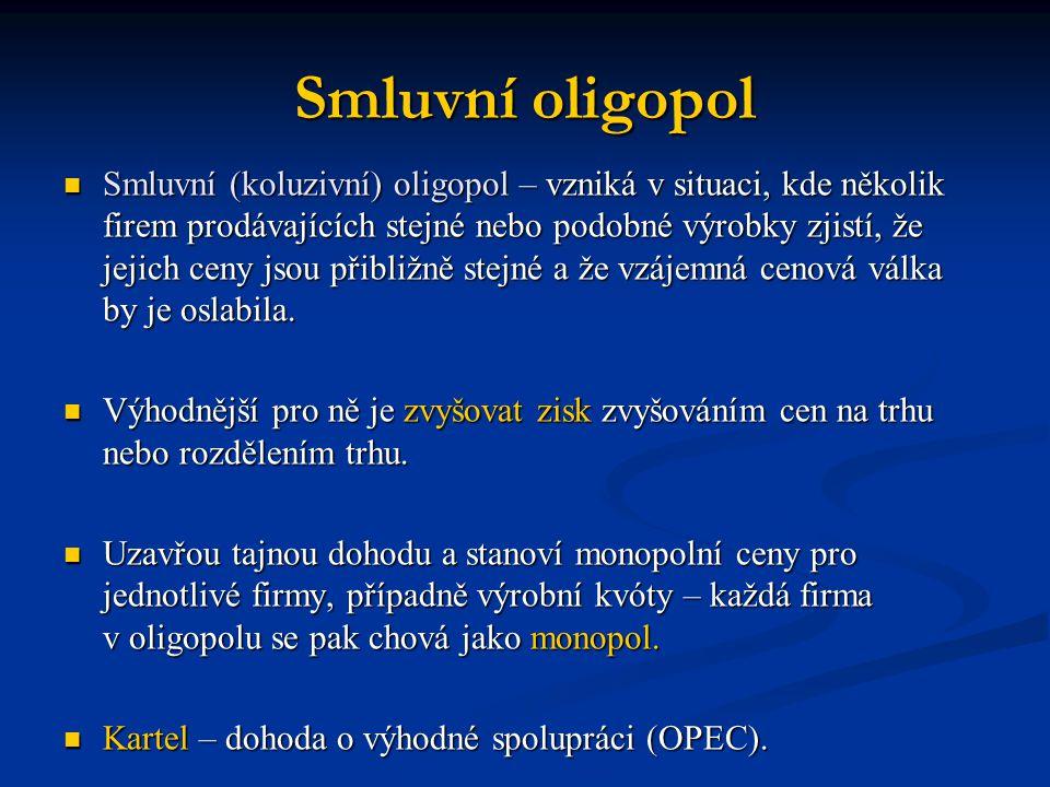 Smluvní oligopol  Smluvní (koluzivní) oligopol – vzniká v situaci, kde několik firem prodávajících stejné nebo podobné výrobky zjistí, že jejich ceny