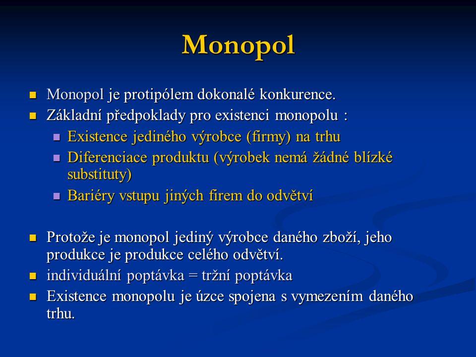 Monopol  Monopol je protipólem dokonalé konkurence.  Základní předpoklady pro existenci monopolu :  Existence jediného výrobce (firmy) na trhu  Di
