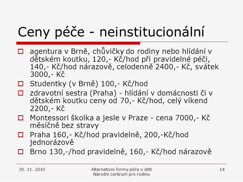 30. 11. 2010Alternativní formy péče o děti Národní centrum pro rodinu 14 Ceny péče - neinstitucionální  agentura v Brně, chůvičky do rodiny nebo hlíd