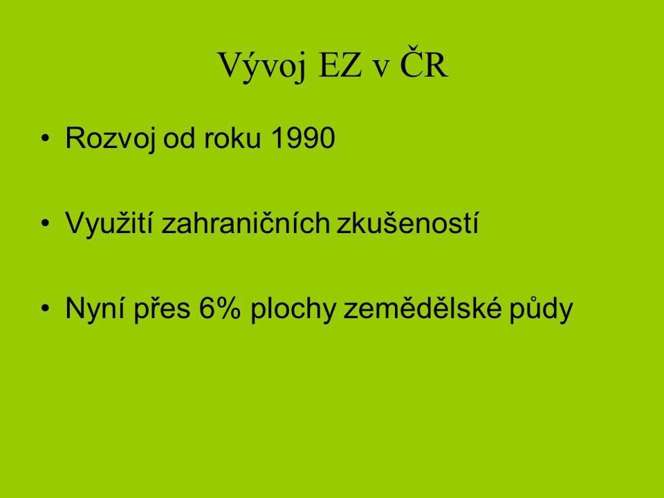 Vývoj EZ v ČR •Rozvoj od roku 1990 •Využití zahraničních zkušeností •Nyní přes 6% plochy zemědělské půdy