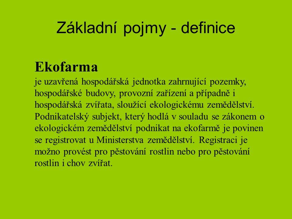 Základní pojmy - definice Ekofarma je uzavřená hospodářská jednotka zahrnující pozemky, hospodářské budovy, provozní zařízení a případně i hospodářská