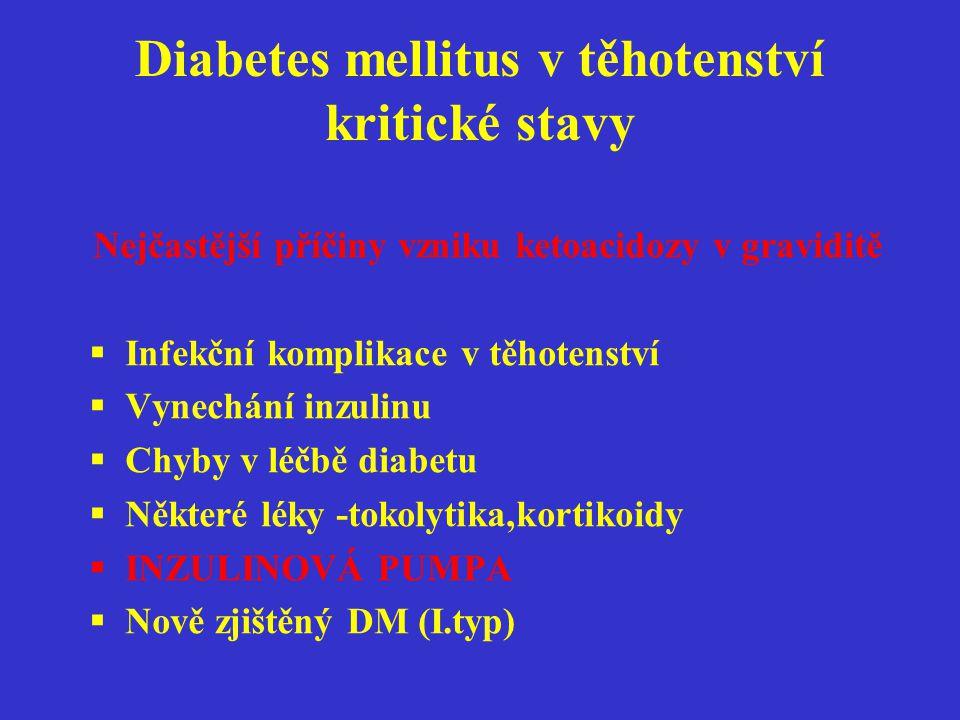 Diabetes mellitus v těhotenství kritické stavy Nejčastější příčiny vzniku ketoacidozy v graviditě  Infekční komplikace v těhotenství  Vynechání inzu