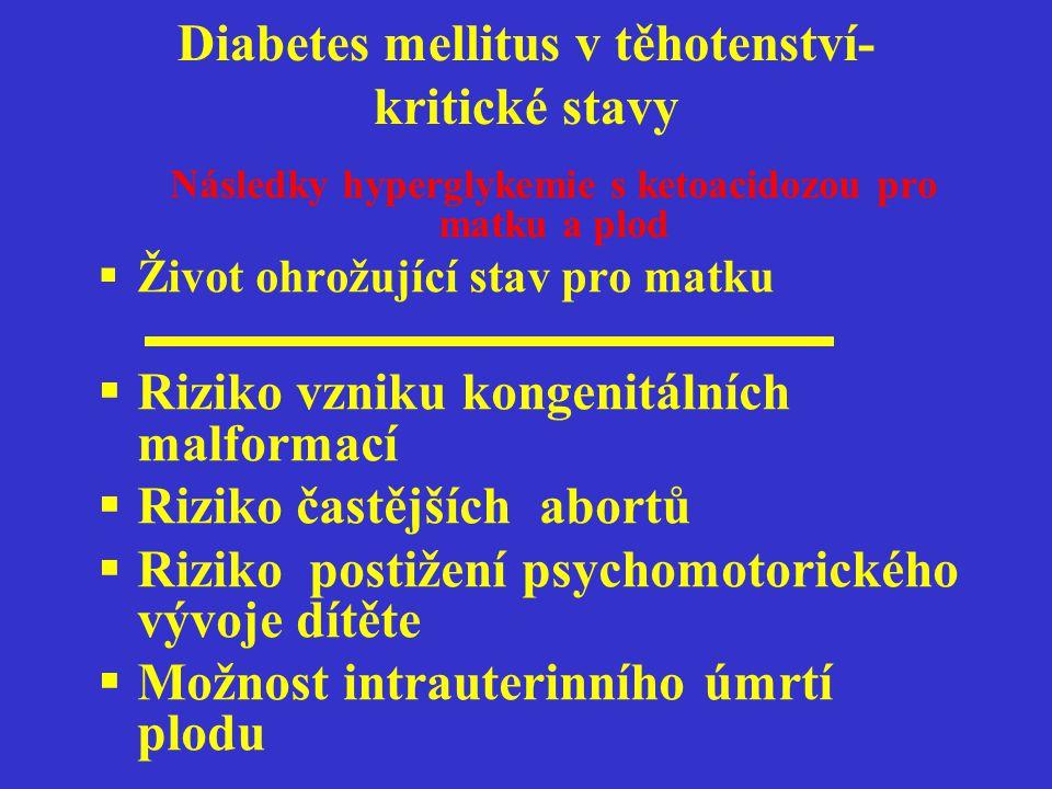 Diabetes mellitus v těhotenství- kritické stavy Následky hyperglykemie s ketoacidozou pro matku a plod  Život ohrožující stav pro matku  Riziko vzni