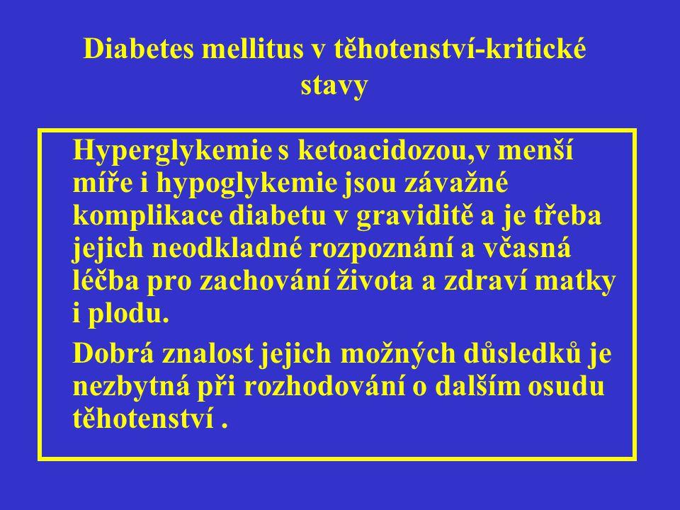 Diabetes mellitus v těhotenství-kritické stavy Hyperglykemie s ketoacidozou,v menší míře i hypoglykemie jsou závažné komplikace diabetu v graviditě a