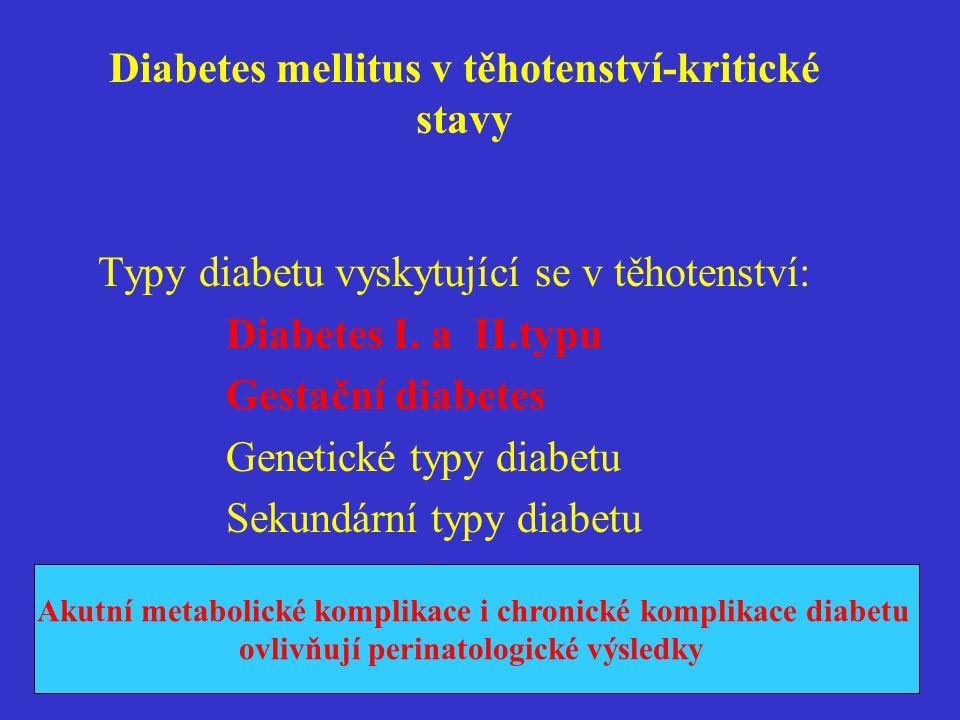 Diabetes mellitus v těhotenství-kritické stavy Typy diabetu vyskytující se v těhotenství: Diabetes I. a II.typu Gestační diabetes Genetické typy diabe