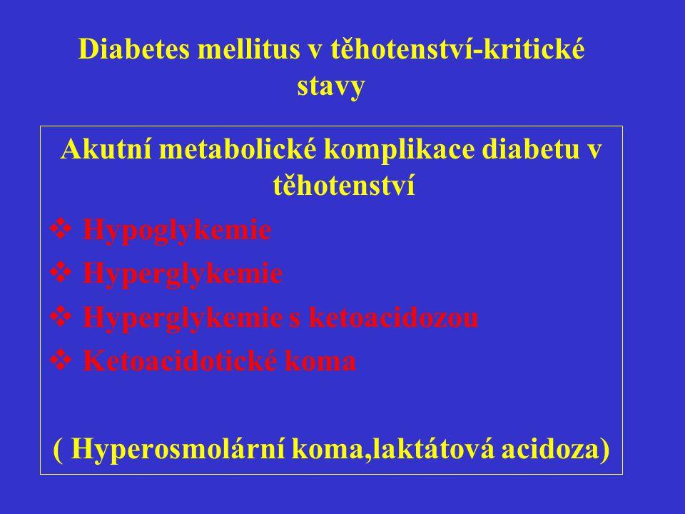 Diabetes mellitus v těhotenství-kritické stavy Akutní metabolické komplikace diabetu v těhotenství  Hypoglykemie  Hyperglykemie  Hyperglykemie s ke