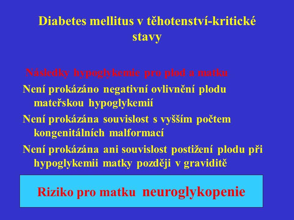 Diabetes mellitus v těhotenství-kritické stavy Následky hypoglykemie pro plod a matku Není prokázáno negativní ovlivnění plodu mateřskou hypoglykemií