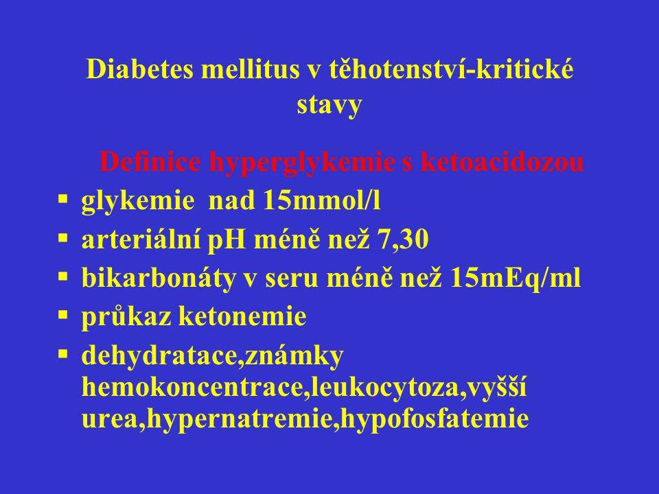 Diabetes mellitus v těhotenství-kritické stavy Definice hyperglykemie s ketoacidozou  glykemie nad 15mmol/l  arteriální pH méně než 7,30  bikarboná