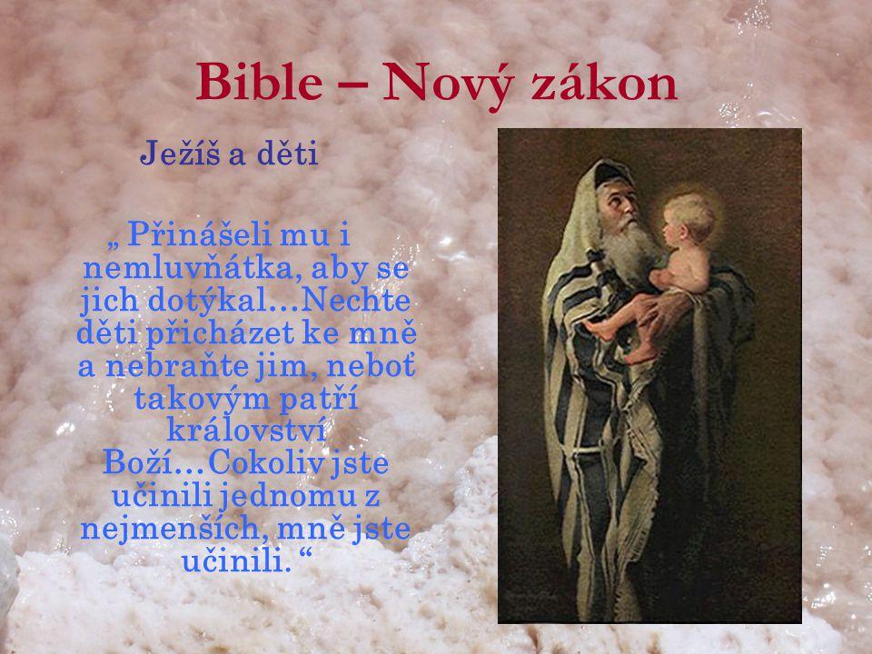 """Bible – Nový zákon Ježíš a děti """" Přinášeli mu i nemluvňátka, aby se jich dotýkal…Nechte děti přicházet ke mně a nebraňte jim, neboť takovým patří království Boží…Cokoliv jste učinili jednomu z nejmenších, mně jste učinili."""