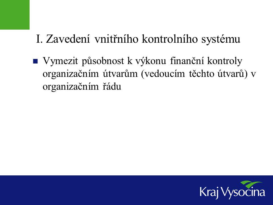 I. Zavedení vnitřního kontrolního systému  Vymezit působnost k výkonu finanční kontroly organizačním útvarům (vedoucím těchto útvarů) v organizačním