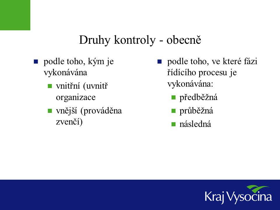 Druhy kontroly - obecně  podle toho, kým je vykonávána  vnitřní (uvnitř organizace  vnější (prováděna zvenčí)  podle toho, ve které fázi řídícího