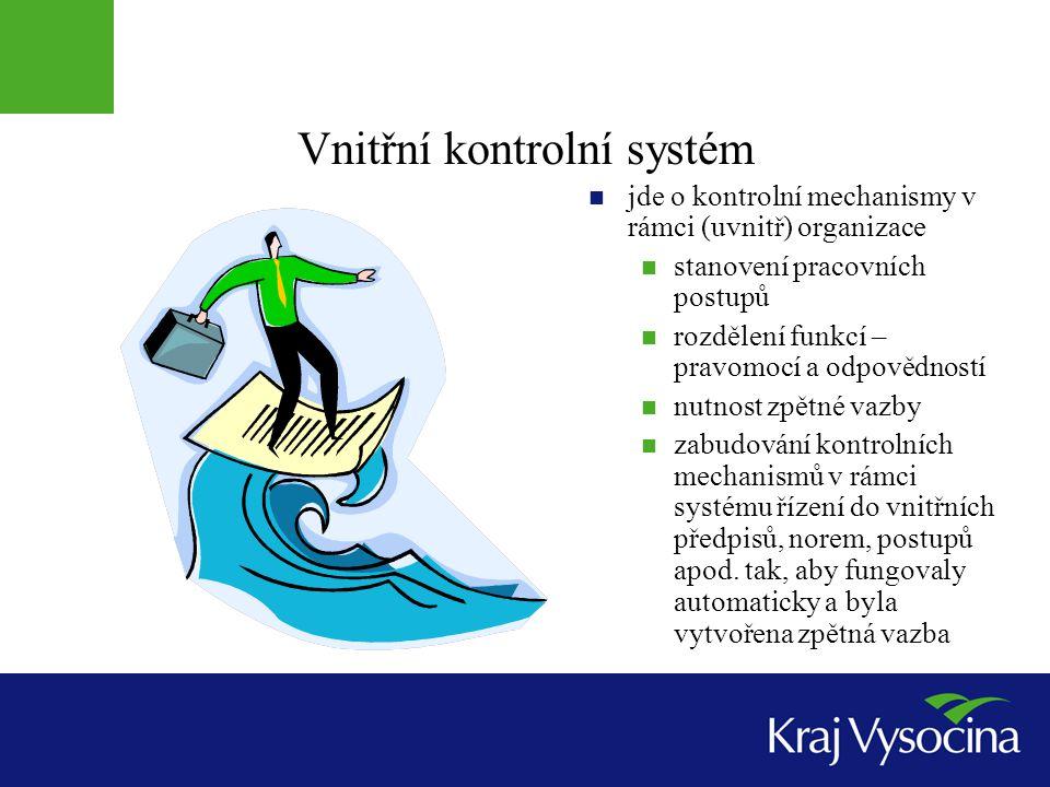 Vnitřní kontrolní systém  jde o kontrolní mechanismy v rámci (uvnitř) organizace  stanovení pracovních postupů  rozdělení funkcí – pravomocí a odpo